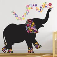 Elephant In Bloom wall decals