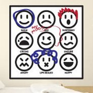 Dry Erase Emoticons wall decal