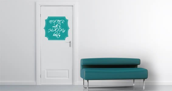 Enter Happy quote wall decals