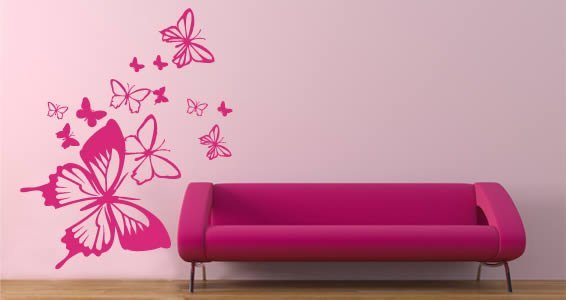 Butterflies in the wind decals