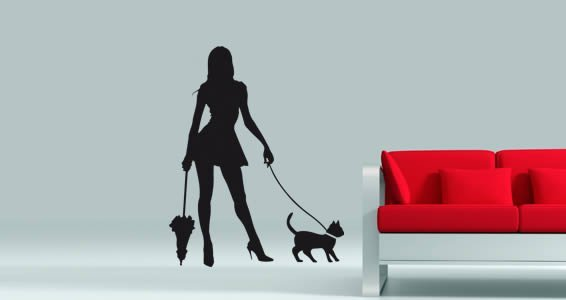 Eva and her cat wall decals