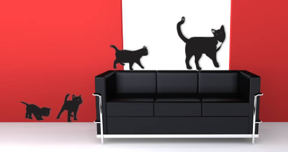 Family Cats wall appliques