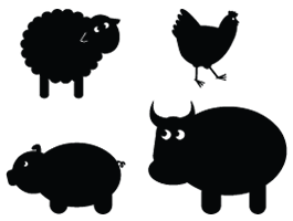 Farm Animals (set of 4 animals cut outs)