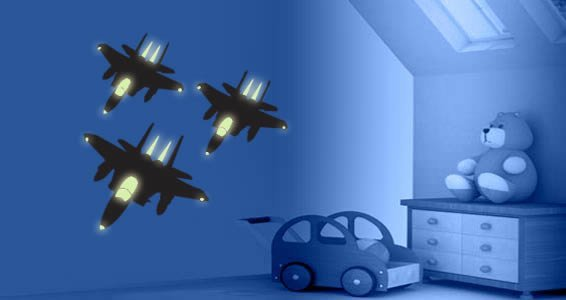 Fighter Planes glow in the dark wall decals