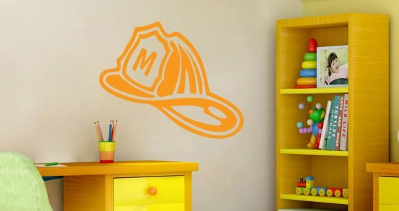 Custom Lettering Fireman Helmet wall decals