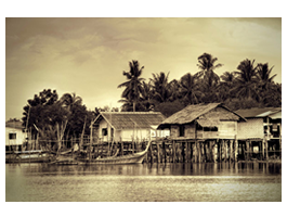 Thai Fish House digital picture on artist canvas