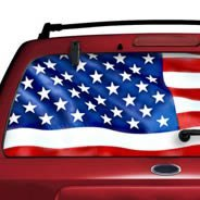 American Flag see through car window decals