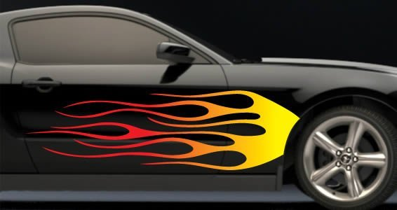 Flames car decals