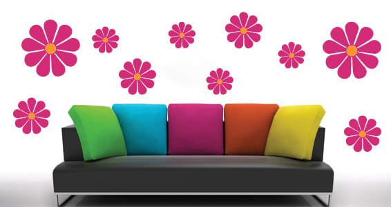 Bicolor Flower wall art decals