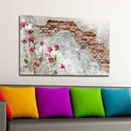 Flowers and Old Wall framed canvas