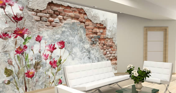 Flowers And Old Wall Murals