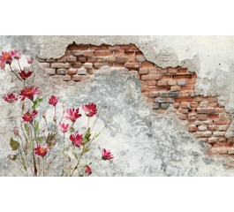 Flowers and Old Wall laptop decals skin