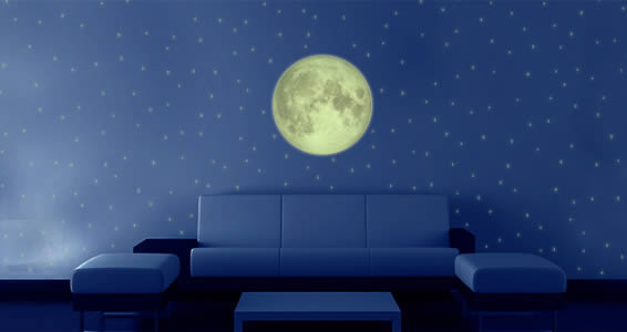 Full Moon Glow in the dark wall decals