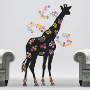 Giraffe In Bloom wall decals