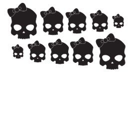 Girl Skull bicolor wall decals