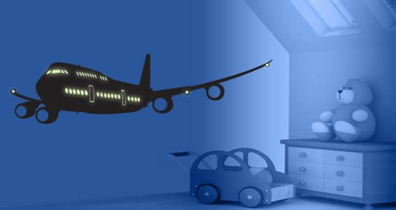 Airplane glow in the dark wall decals