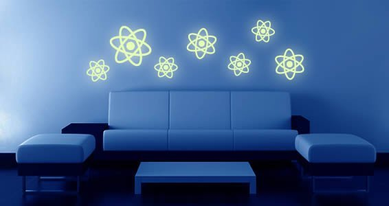 Glow in the dark solar system wall decals