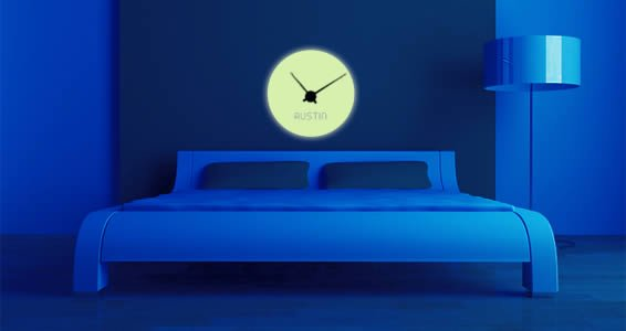 Glow in the dark clock wall decals