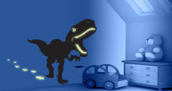 Glow T-Rex Dino wall decals