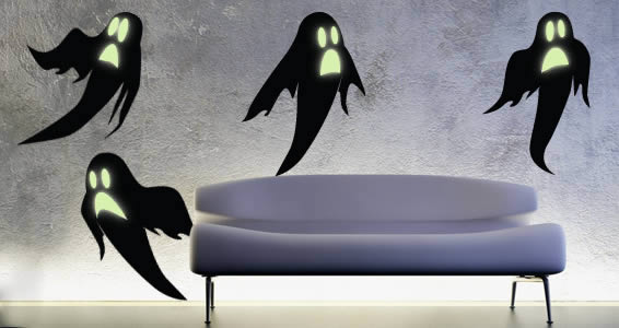 Glowsbusters! 4 ghosts decals with glowing eyes