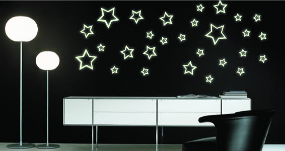 Glow in the dark star wall decals