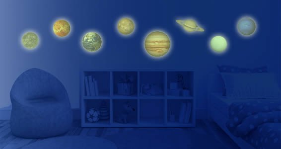 Solar system planets glow in the dark decals