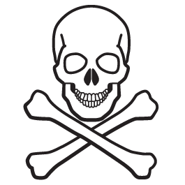 Skull and Bones glow in the dark wall decal