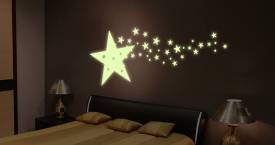 Beau Starshine Glow In The Dark Star Wall Decals