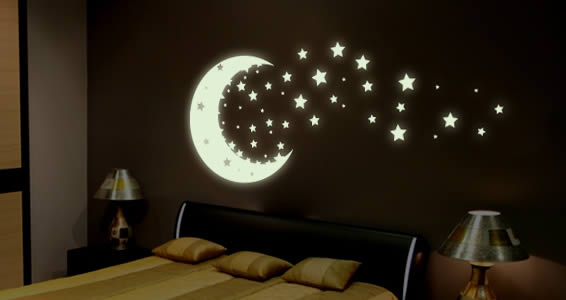 Moonshine glow in the dark wall decals stars