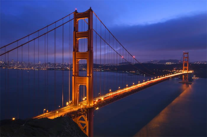 Golden Gate Night Lights Photo On Canvas Dezign With A Z
