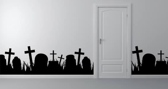 Graveyard wall border