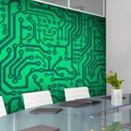 Green Circuit wall mural