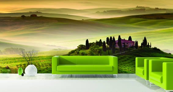 Green Fairy Fields wall mural Dezign With a Z