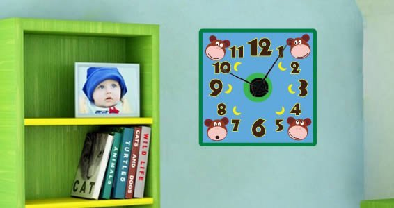 Hanging Monkey clock wall decal (with mechanism)