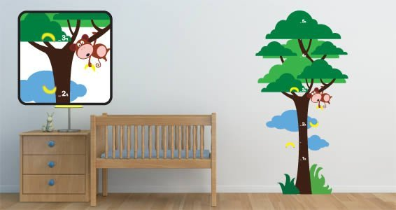 Hanging Monkey wall decal growth chart