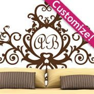 Monogram Royal  headboard wall decals
