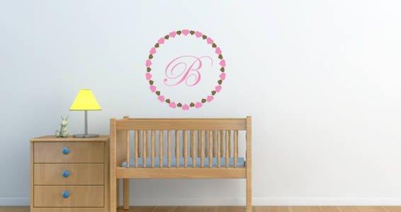 Hearts Art Monogram Wall Decals