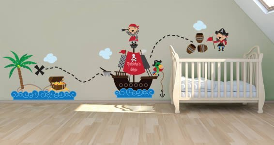 Her Pirate World pack custom wall stickers