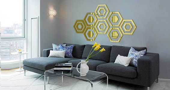 Acrylic Wall Mirror hexagon acrylic wall mirror | dezign with a z