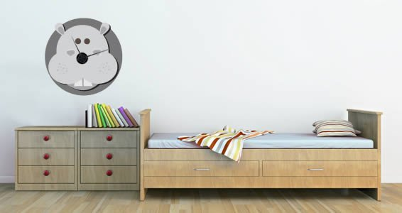 Hippo Noah's Ark Clock wall decal
