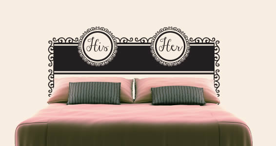 His And Her Headboard Wall Decal