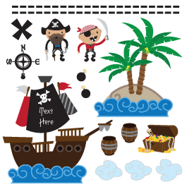 His Pirate World personalized pack wall decals