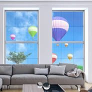 Hot Air Balloons see through window decals