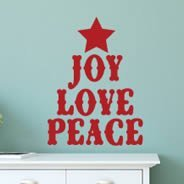 Joy Love Peace tree wall decal