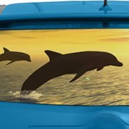 Jumping Dolphin see through car window  decals