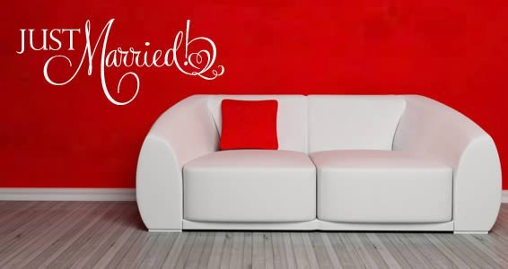 Just Married wall decal quote