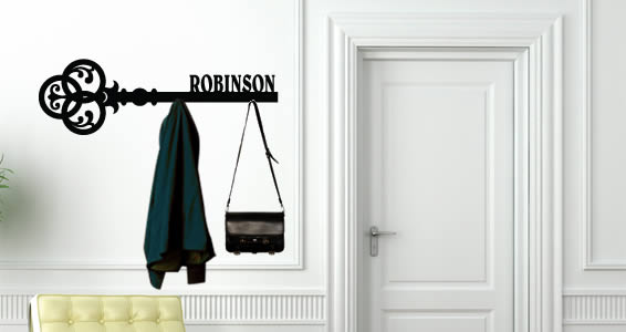 Personalized Key Hanger Rack Wall Decals Dezign With A Z Interesting Coat And Key Rack
