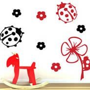 Lady Bugs and Flowers adhesive decals