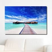 Sea Blue Lagoon Village wall canvas