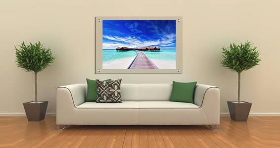 Ocean Blue Lagoons Village Plexiglass Stand Off